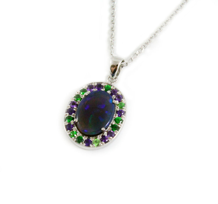 Australian jelly opal Tsavorite garnet and amethyst halo white gold pendant necklace - Sarah Hughes - 2