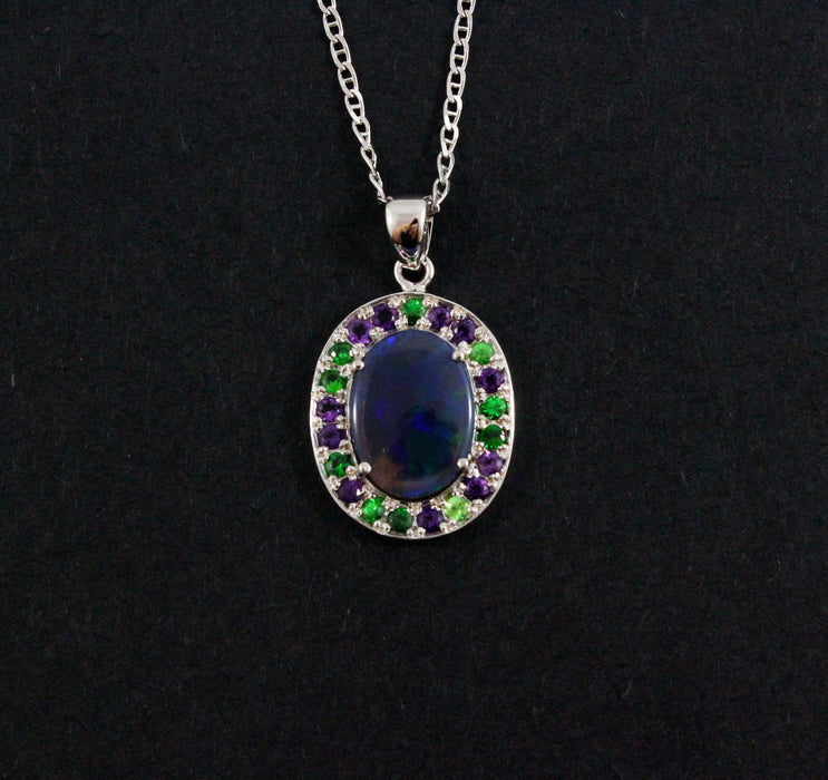 Australian jelly opal Tsavorite garnet and amethyst halo white gold pendant necklace - Sarah Hughes - 4