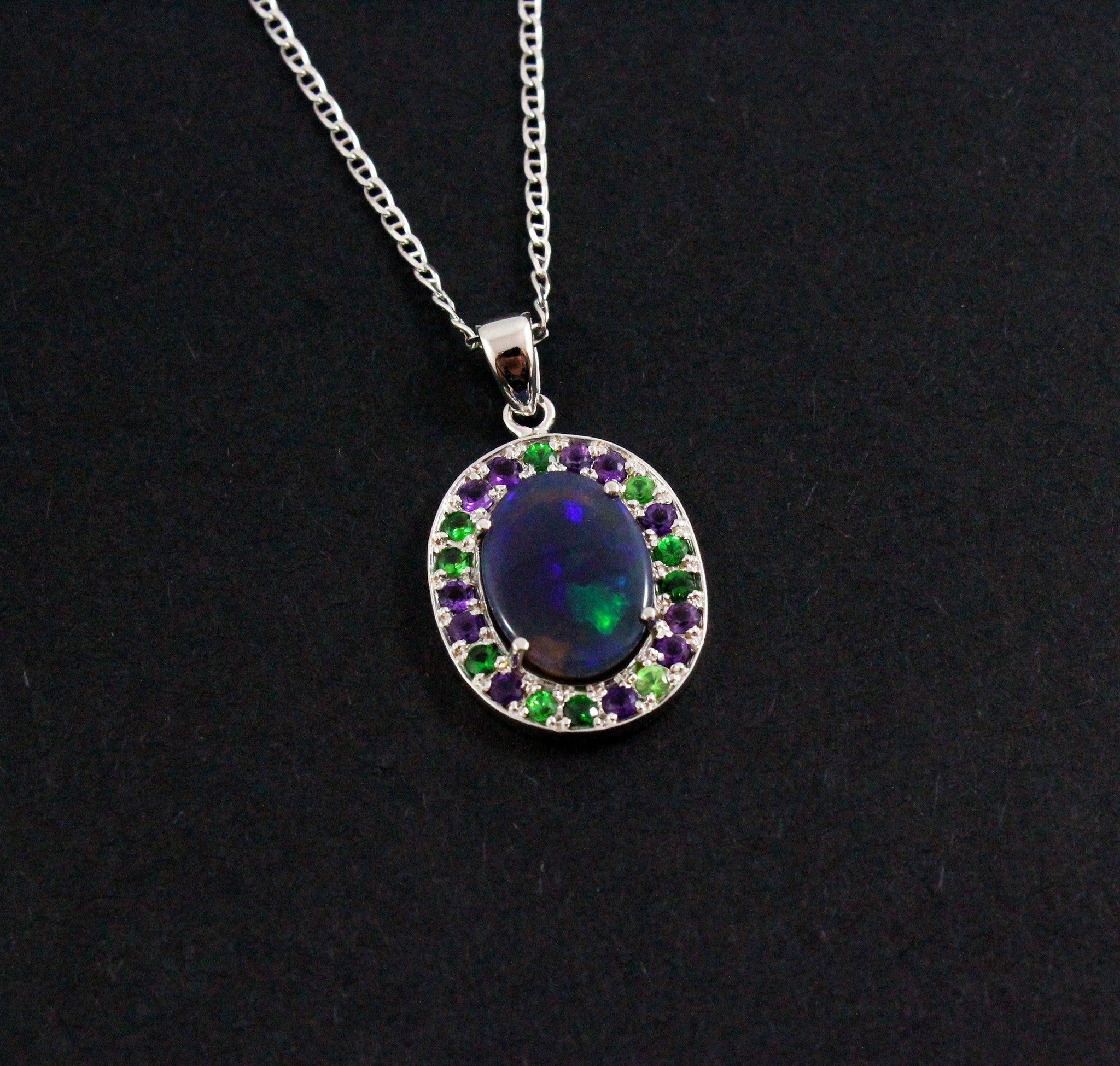 Australian jelly opal Tsavorite garnet and amethyst halo white gold pendant necklace - Sarah Hughes - 5