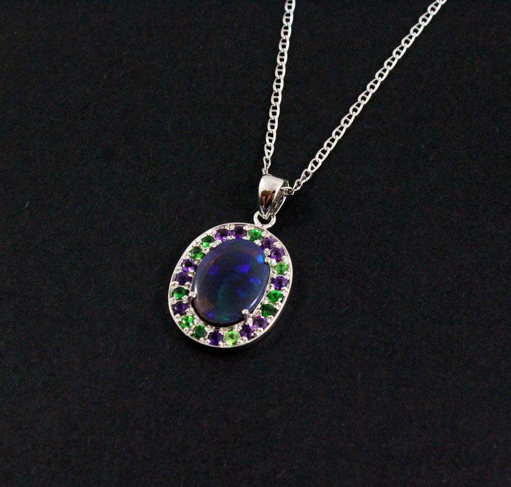 Australian jelly opal Tsavorite garnet and amethyst halo white gold pendant necklace - Sarah Hughes - 6