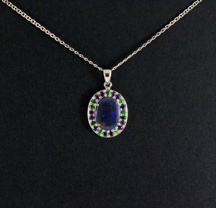 Australian jelly opal Tsavorite garnet and amethyst halo white gold pendant necklace - Sarah Hughes - 7