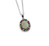 Australian opal fancy sapphires and amethyst halo white gold pendant necklace - Sarah Hughes - 3