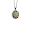 Australian opal fancy sapphires and amethyst halo white gold pendant necklace - Sarah Hughes - 4
