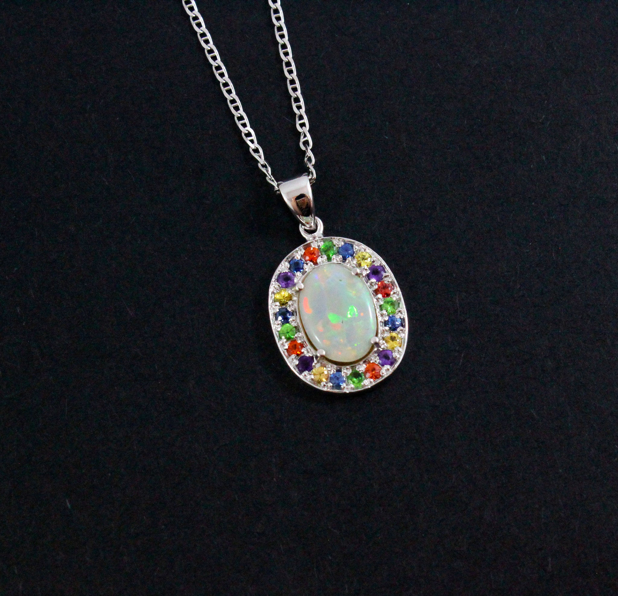 Australian opal fancy sapphires and amethyst halo white gold pendant necklace - Sarah Hughes - 5