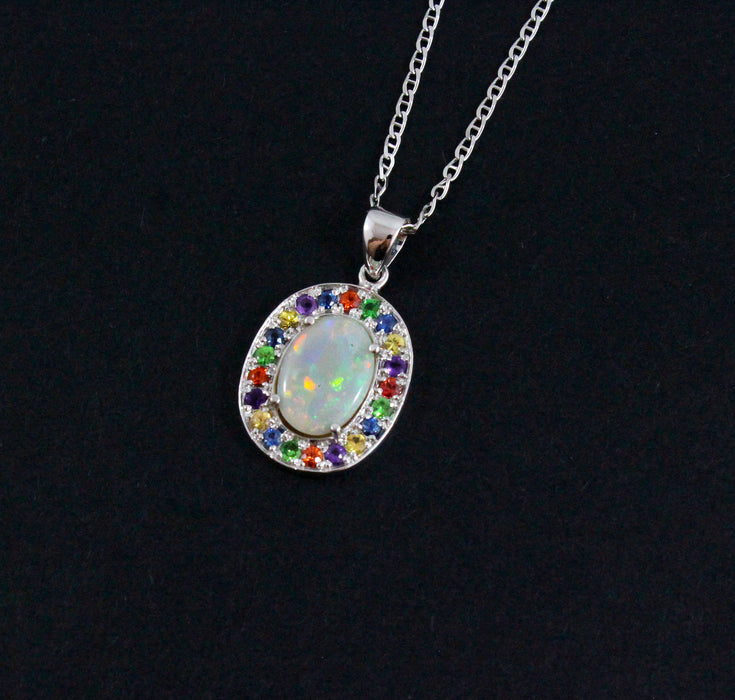 Australian opal fancy sapphires and amethyst halo white gold pendant necklace - Sarah Hughes - 6