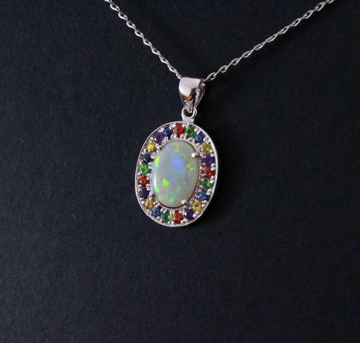 Australian opal fancy sapphires and amethyst halo white gold pendant necklace - Sarah Hughes - 7
