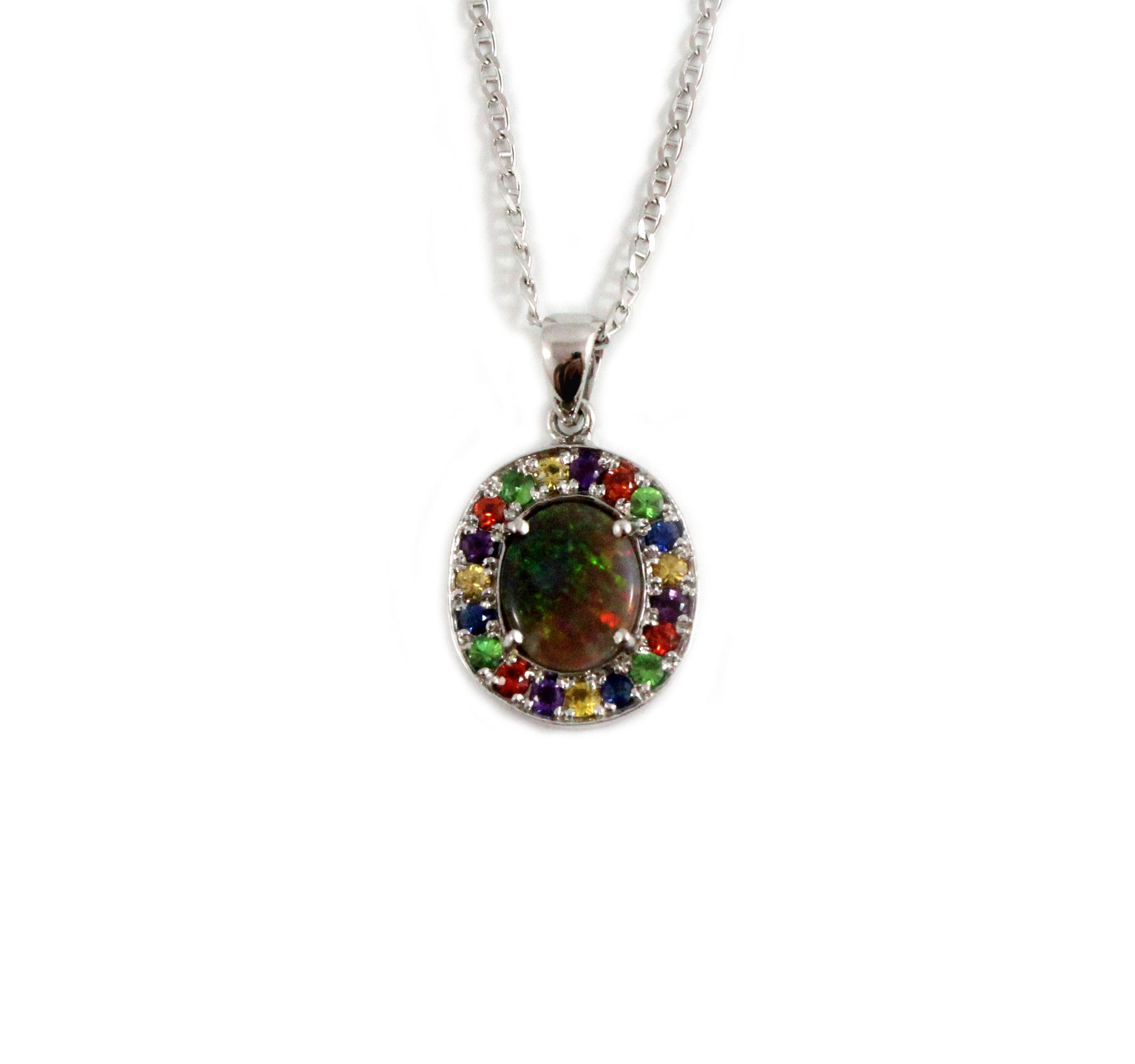 Australian opal fancy sapphires and amethyst halo white gold pendant necklace - Sarah Hughes - 2