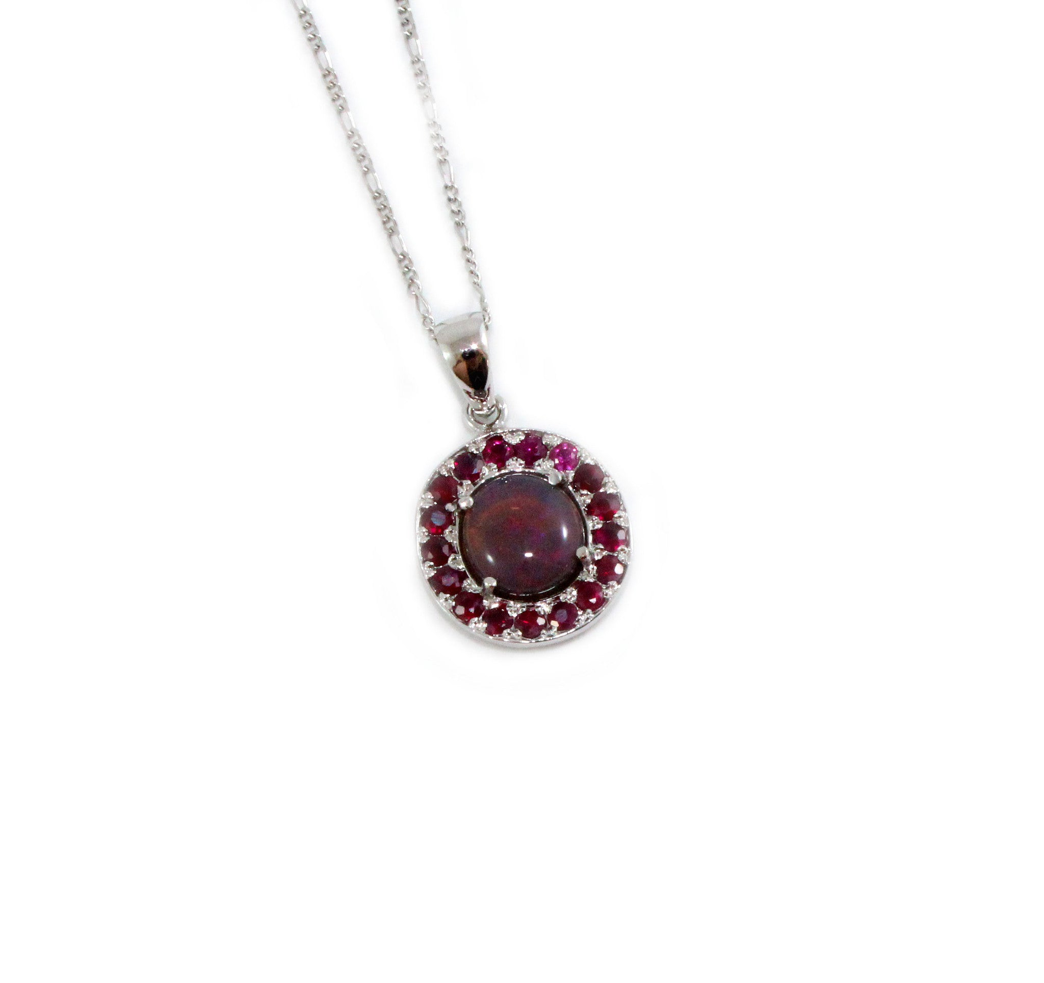 Australian jelly opal and ruby halo white gold pendant necklace - Sarah Hughes - 2