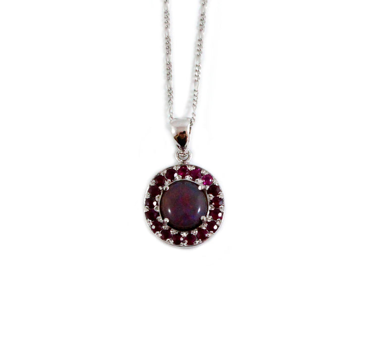 Australian jelly opal and ruby halo white gold pendant necklace - Sarah Hughes - 3