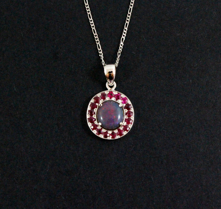 Australian jelly opal and ruby halo white gold pendant necklace - Sarah Hughes - 4