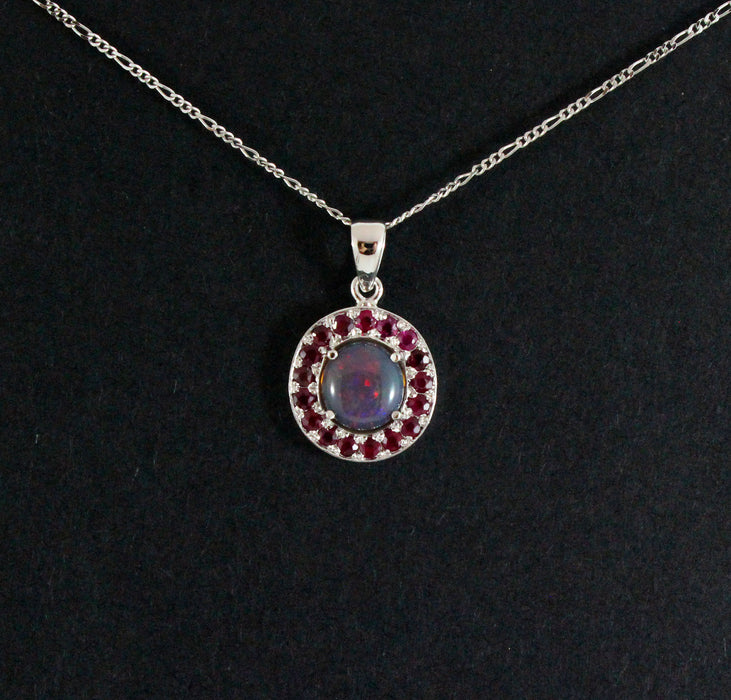 Australian jelly opal and ruby halo white gold pendant necklace - Sarah Hughes - 5