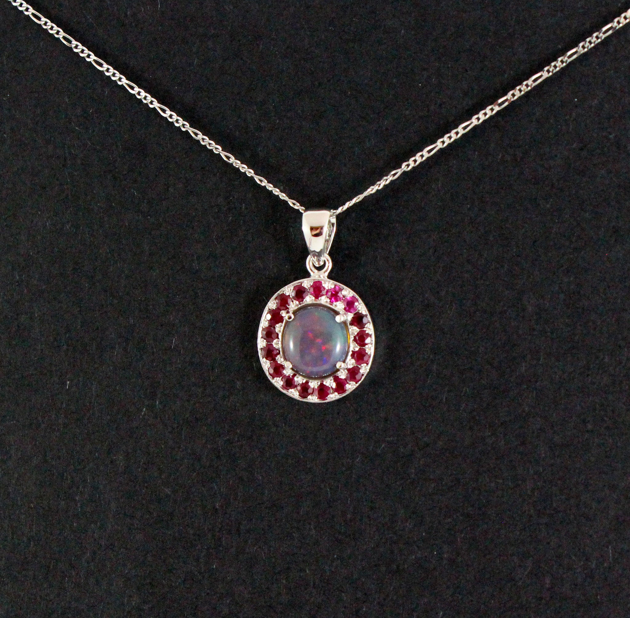 Australian jelly opal and ruby halo white gold pendant necklace - Sarah Hughes - 6