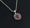 Australian black opal with ruby halo white gold pendant necklace - Ready to ship