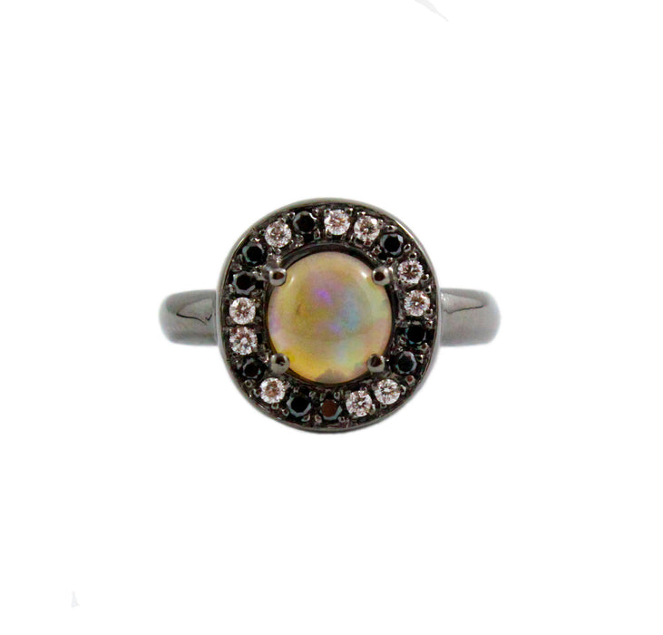 Australian jelly opal diamond black diamond halo black gold ring