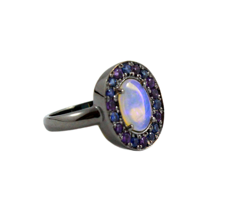 Australian jelly opal amethyst and blue sapphire halo black rhodium plated gold ring