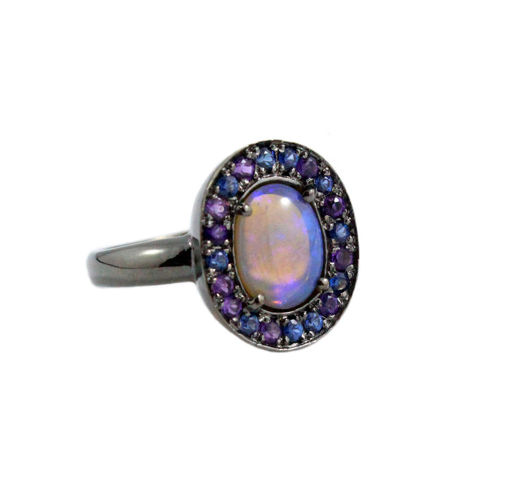 Australian jelly opal amethyst and blue sapphire halo black rhodium plated gold ring size 7.5