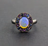 Australian jelly opal with amethyst and blue sapphire halo in oxidized black gold ring size 6