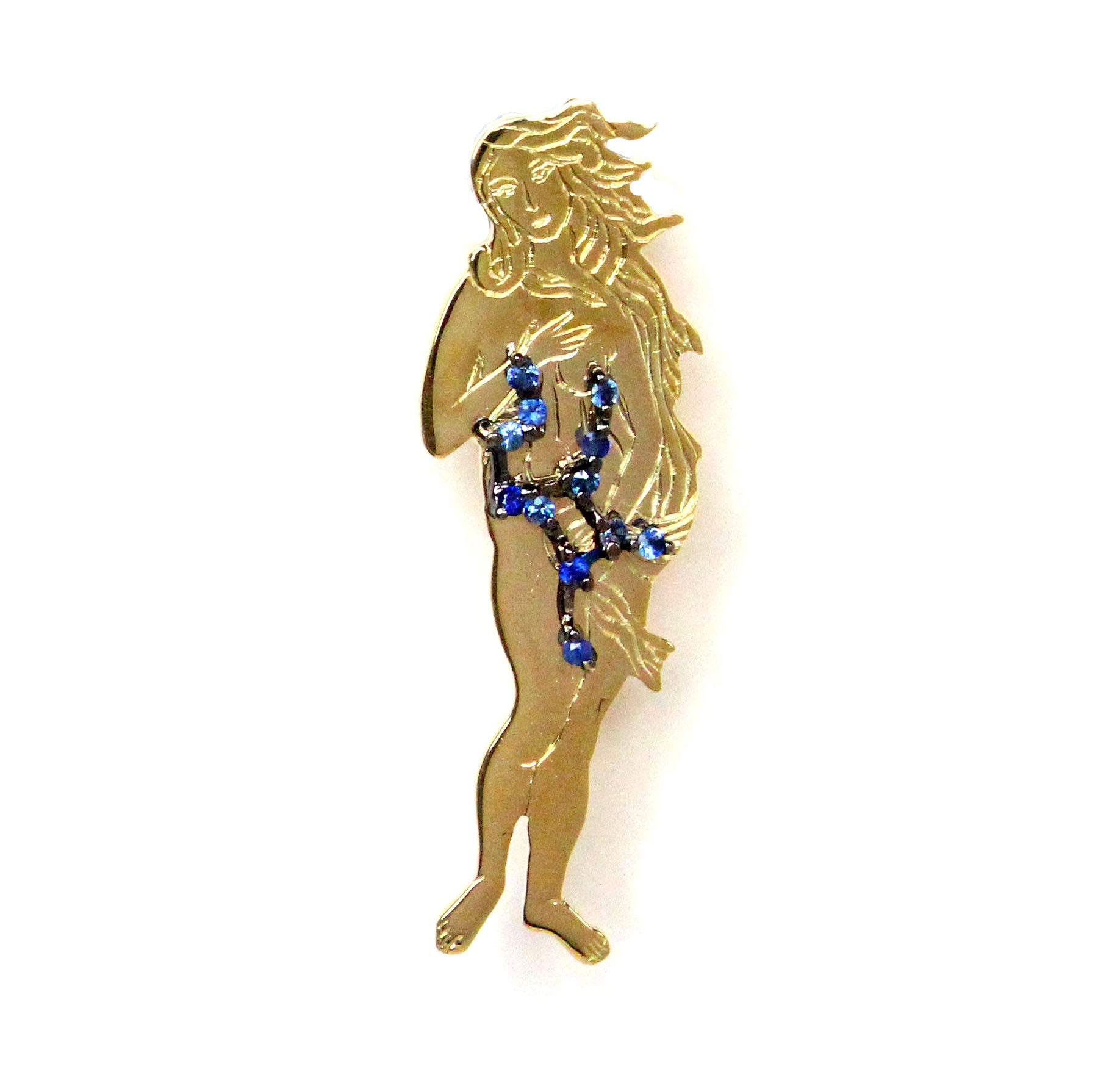 Virgo star sign as Botticelli's Venus in solid gold Virgo constellation blue sapphire birthstone black gold pendant - CLICK HERE - Sarah Hughes - 2