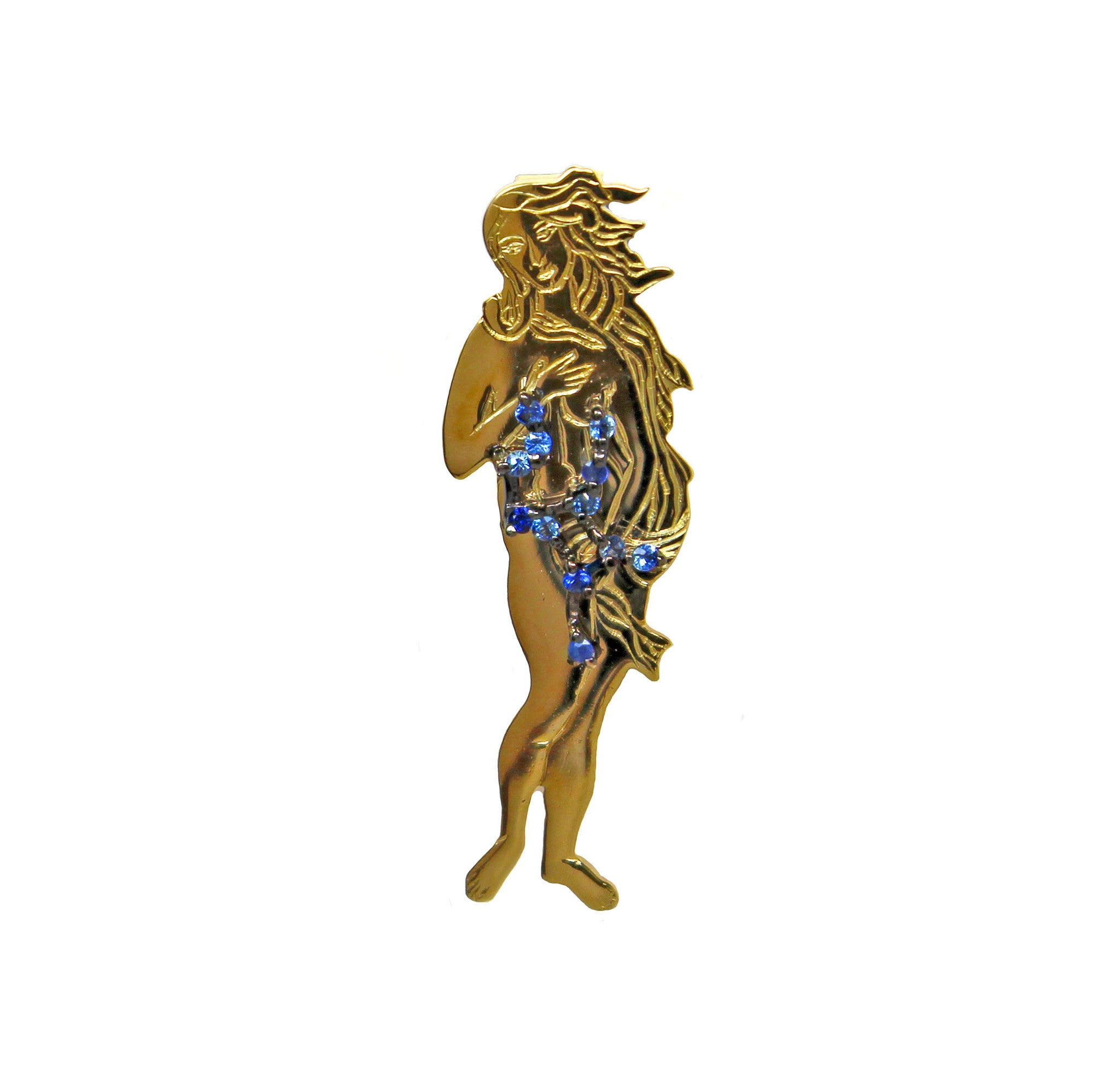 Virgo star sign as Botticelli's Venus in solid gold Virgo constellation blue sapphire birthstone black gold pendant - CLICK HERE - Sarah Hughes - 3
