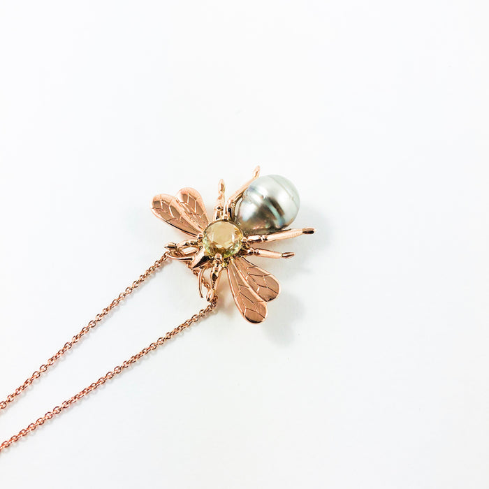 Bee insect Tahitian pearl, yellow rose cut sapphire, 14k rose gold pendant necklace
