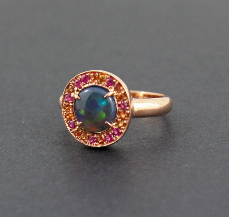 Australian black opal, ruby, orange sapphire, rose gold set ring and earrings set