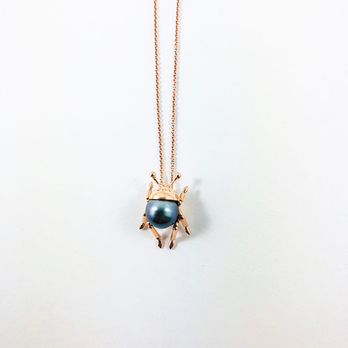 Beetle insect Tahitian pearl, 14k rose gold pendant necklace