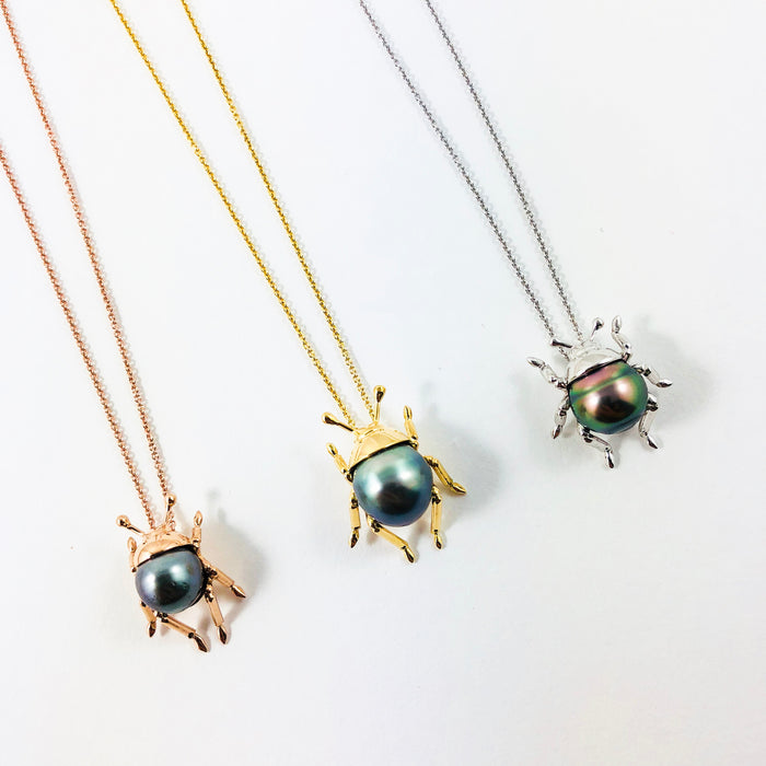 Beetle insect Tahitian pearl, 14k white gold pendant necklace