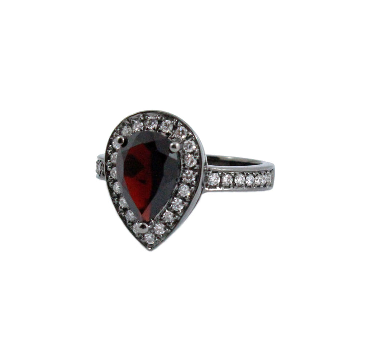 Pyrope Garnet pear diamond halo 14k gold ring - Customise size, diamond and gold colour
