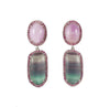Rainbow fluorite, kunzite, pink sapphire halo silver dangle earrings