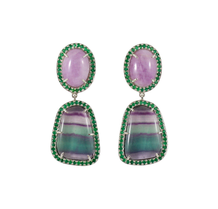 Rainbow fluorite, kunzite, emerald halo silver dangle earrings