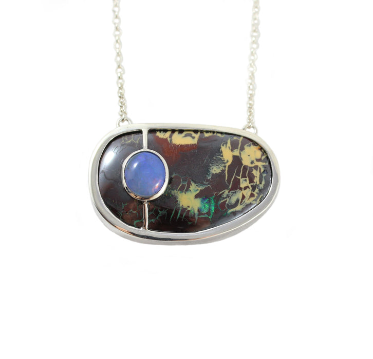 Australian boulder and jelly opal solid silver pendant necklace - Ready to ship