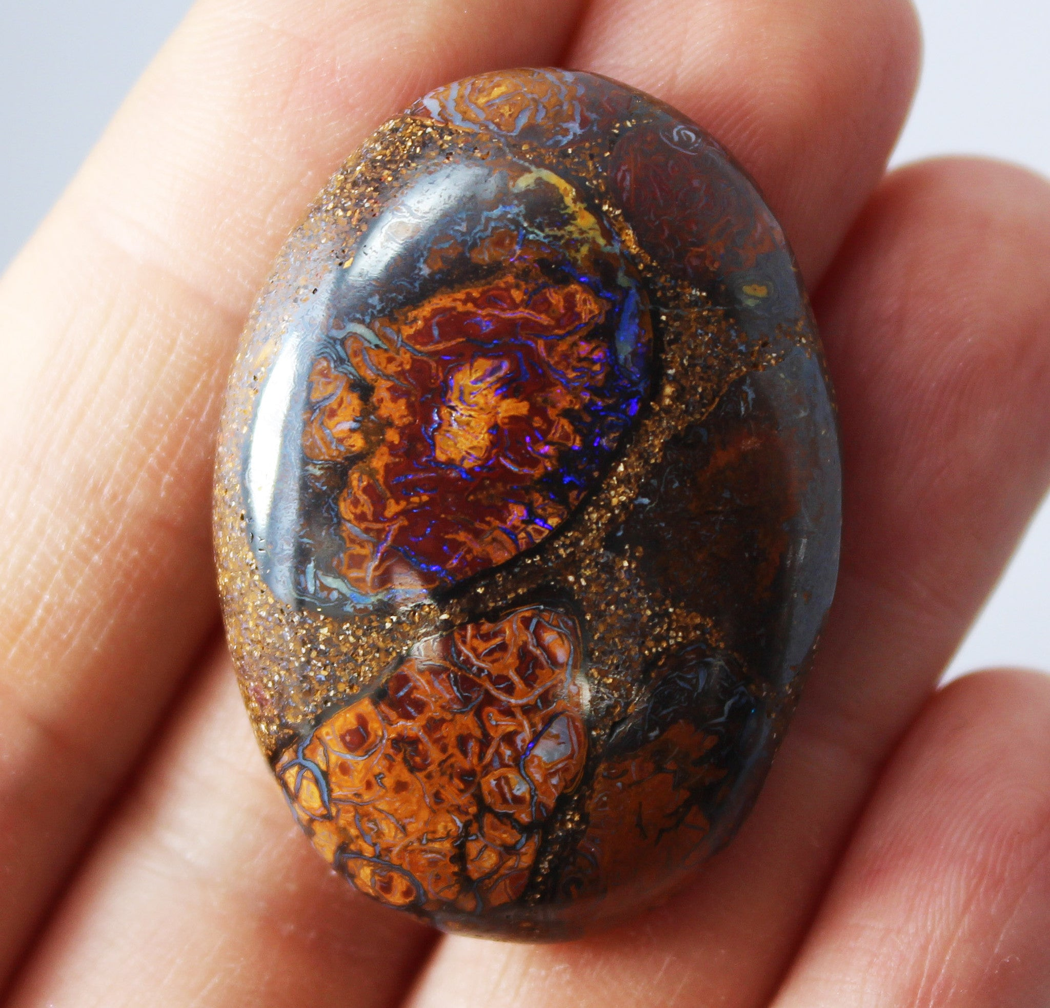 Australian boulder opal from Lightning Ridge polished cabochon CLICK HERE - Sarah Hughes - 2