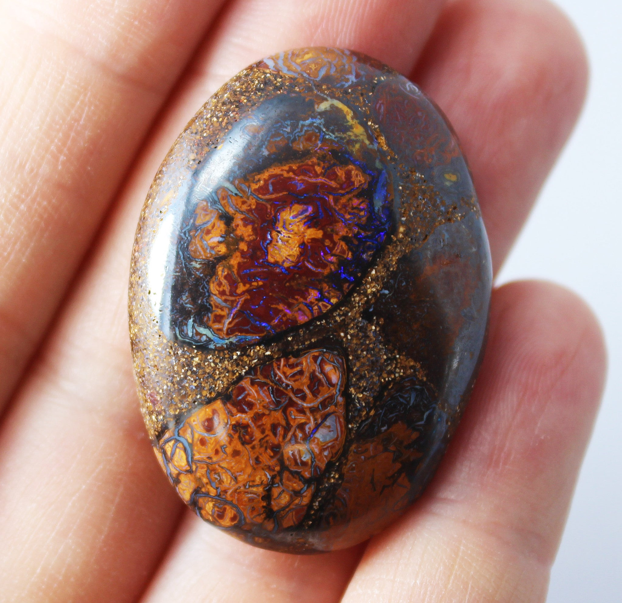 Australian boulder opal from Lightning Ridge polished cabochon CLICK HERE - Sarah Hughes - 3