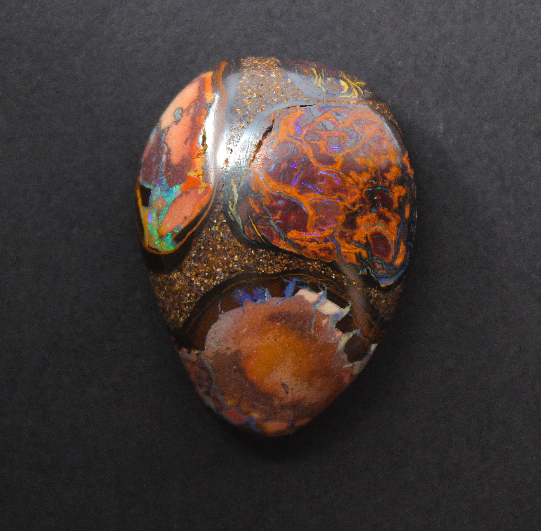 Australian boulder opal from Lightning Ridge polished cabochon CLICK HERE - Sarah Hughes - 8