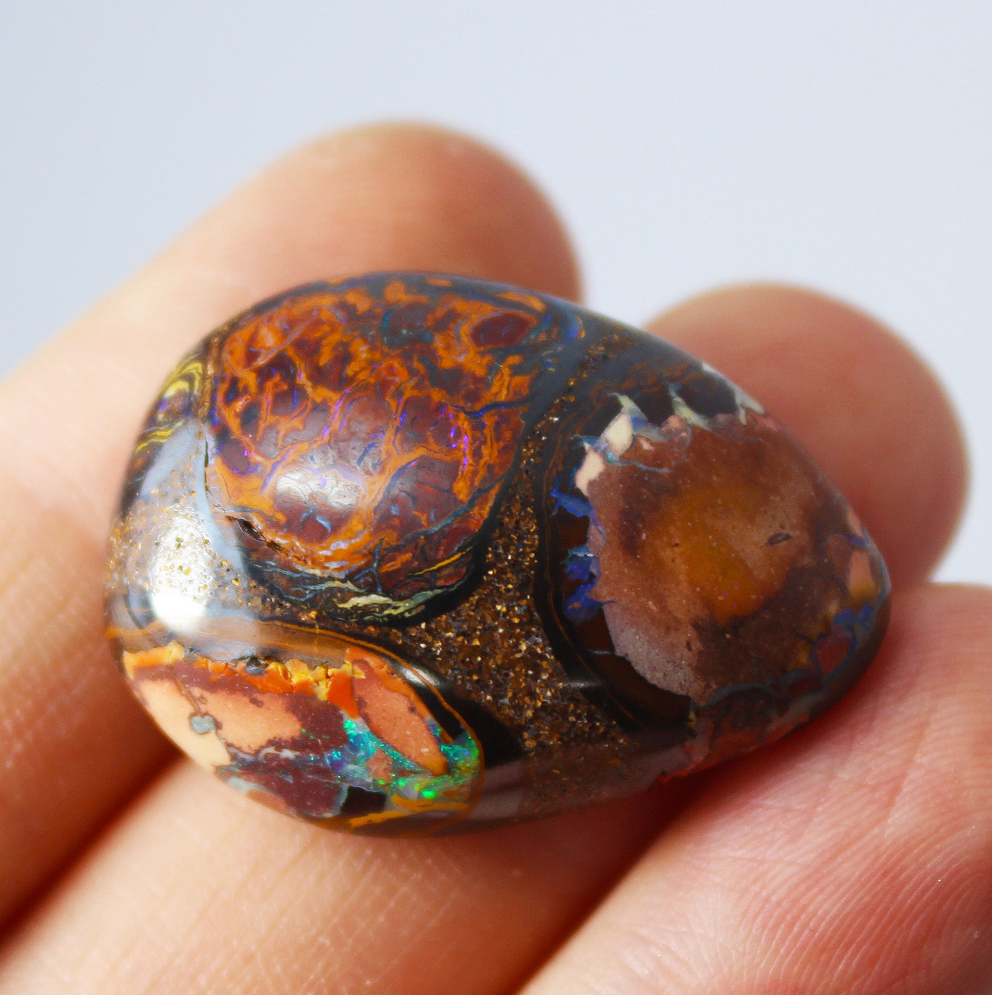 Australian boulder opal from Lightning Ridge polished cabochon CLICK HERE - Sarah Hughes - 4