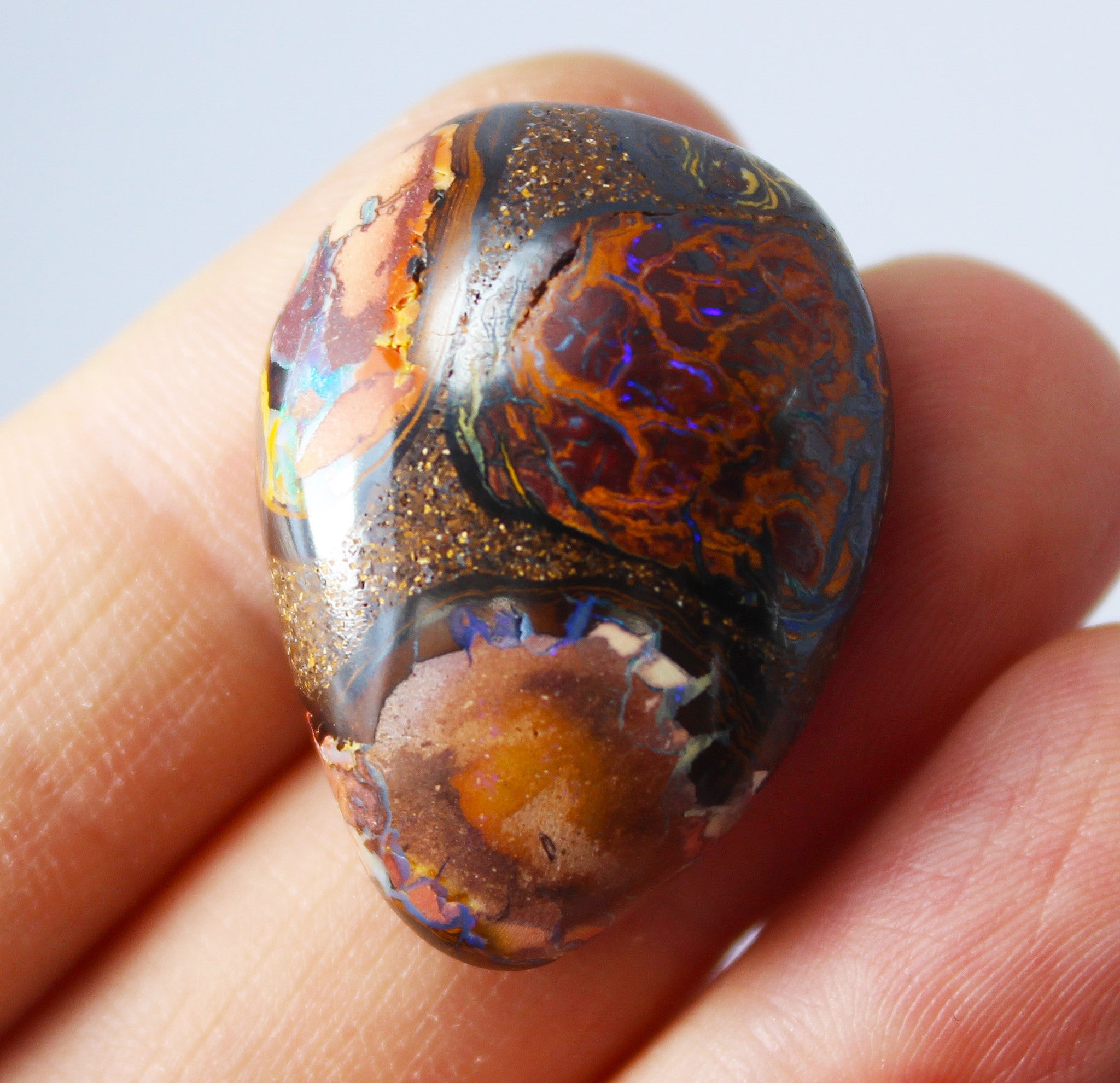 Australian boulder opal from Lightning Ridge polished cabochon CLICK HERE - Sarah Hughes - 5