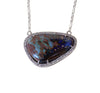 Australian boulder opal diamond 14k white gold pendant necklace - Ready to ship CLICK HERE - Sarah Hughes - 6