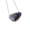 Australian boulder opal diamond 14k white gold pendant necklace - Ready to ship CLICK HERE - Sarah Hughes - 7