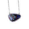 Australian boulder opal diamond 14k white gold pendant necklace - Ready to ship CLICK HERE - Sarah Hughes - 8