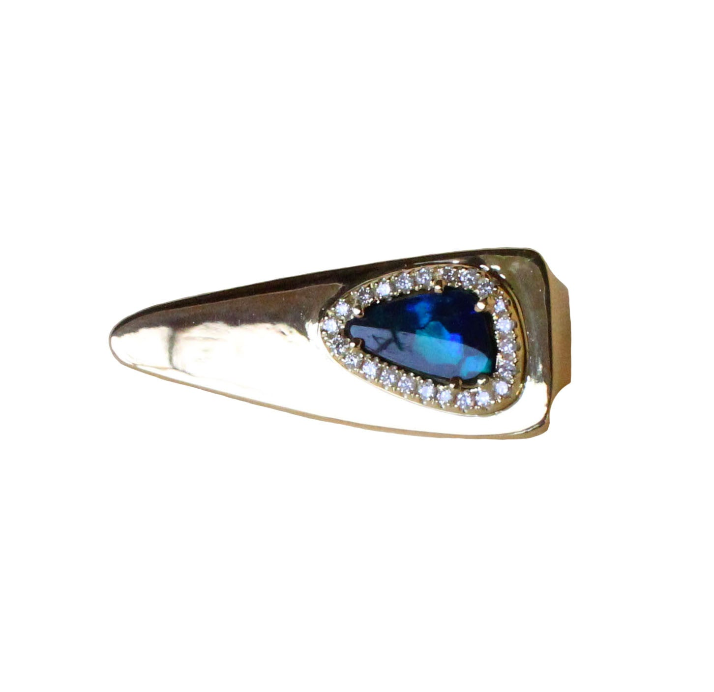 Australian black opal diamond solid 14k yellow gold tie clip - Ready to ship CLICK HERE - Sarah Hughes - 3