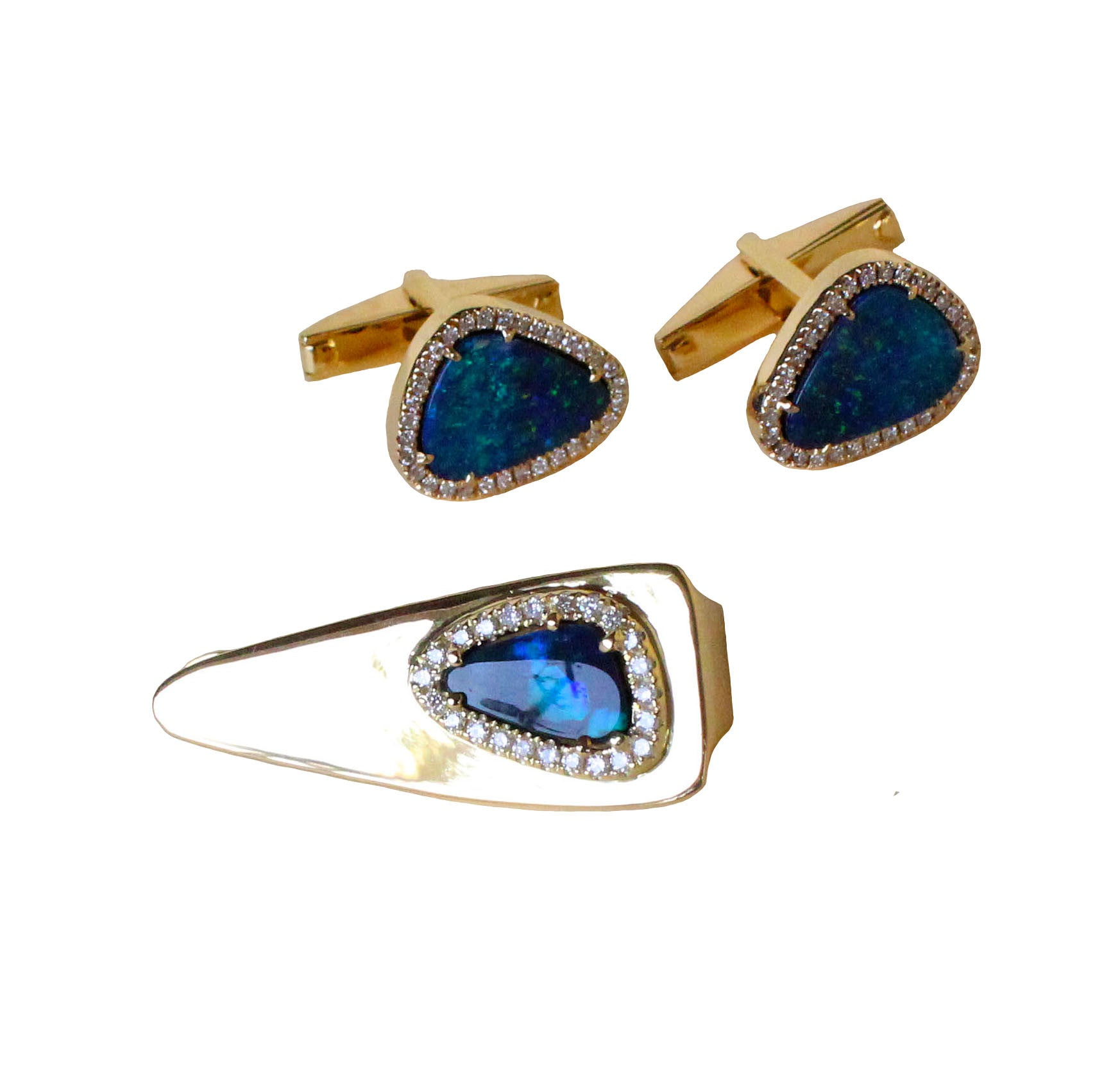 Australian black opal diamond solid 14k yellow gold tie clip - Ready to ship CLICK HERE - Sarah Hughes - 5