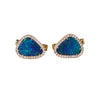 Blue Australian opal doublet diamond solid 14k yellow gold cufflinks - Ready to ship CLICK HERE - Sarah Hughes - 5