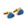Blue Australian opal doublet diamond solid 14k yellow gold cufflinks - Ready to ship CLICK HERE - Sarah Hughes - 6