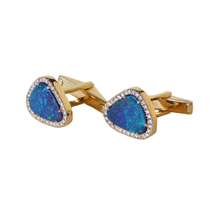 Blue Australian opal doublet diamond solid 14k yellow gold cufflinks - Ready to ship CLICK HERE - Sarah Hughes - 2