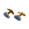 Blue Australian opal doublet diamond solid 14k yellow gold cufflinks - Ready to ship CLICK HERE - Sarah Hughes - 3