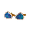 Blue Australian opal doublet diamond solid 14k yellow gold cufflinks - Ready to ship CLICK HERE - Sarah Hughes - 4