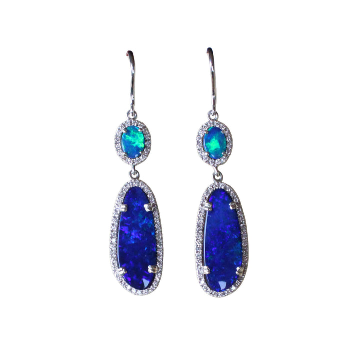 Electric blue Australian opal diamond solid silver dangle earrings - Ready to ship - Sarah Hughes - 3