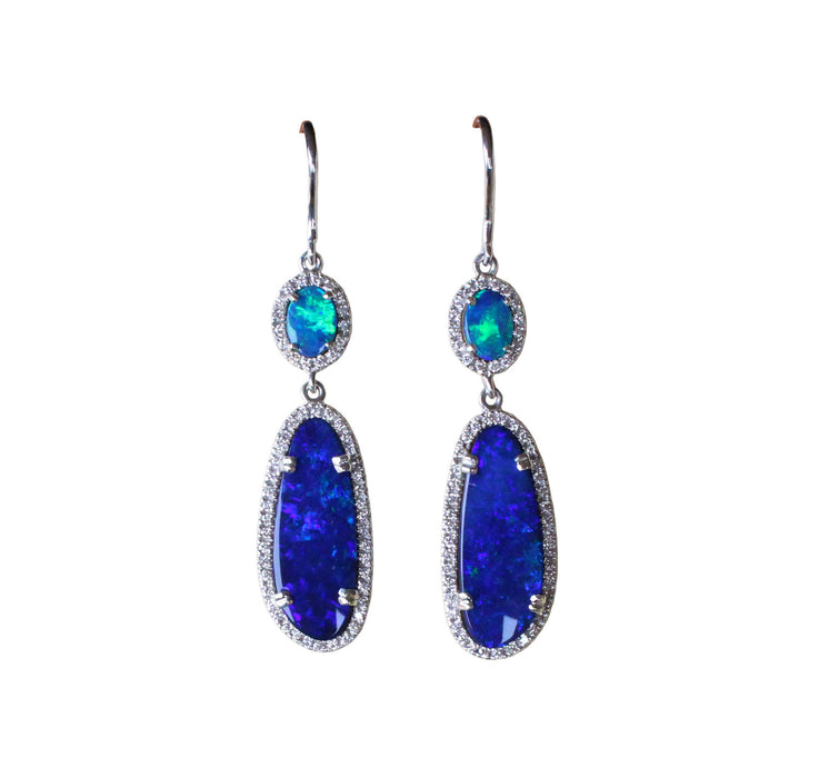 Electric blue Australian opal diamond solid silver dangle earrings - Ready to ship - Sarah Hughes - 6