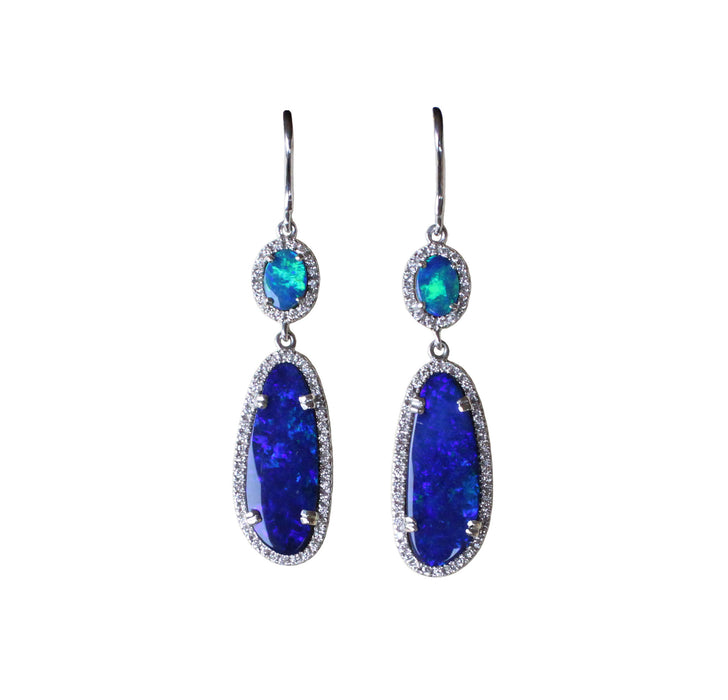 Electric blue Australian opal diamond solid silver dangle earrings - Ready to ship - Sarah Hughes - 5