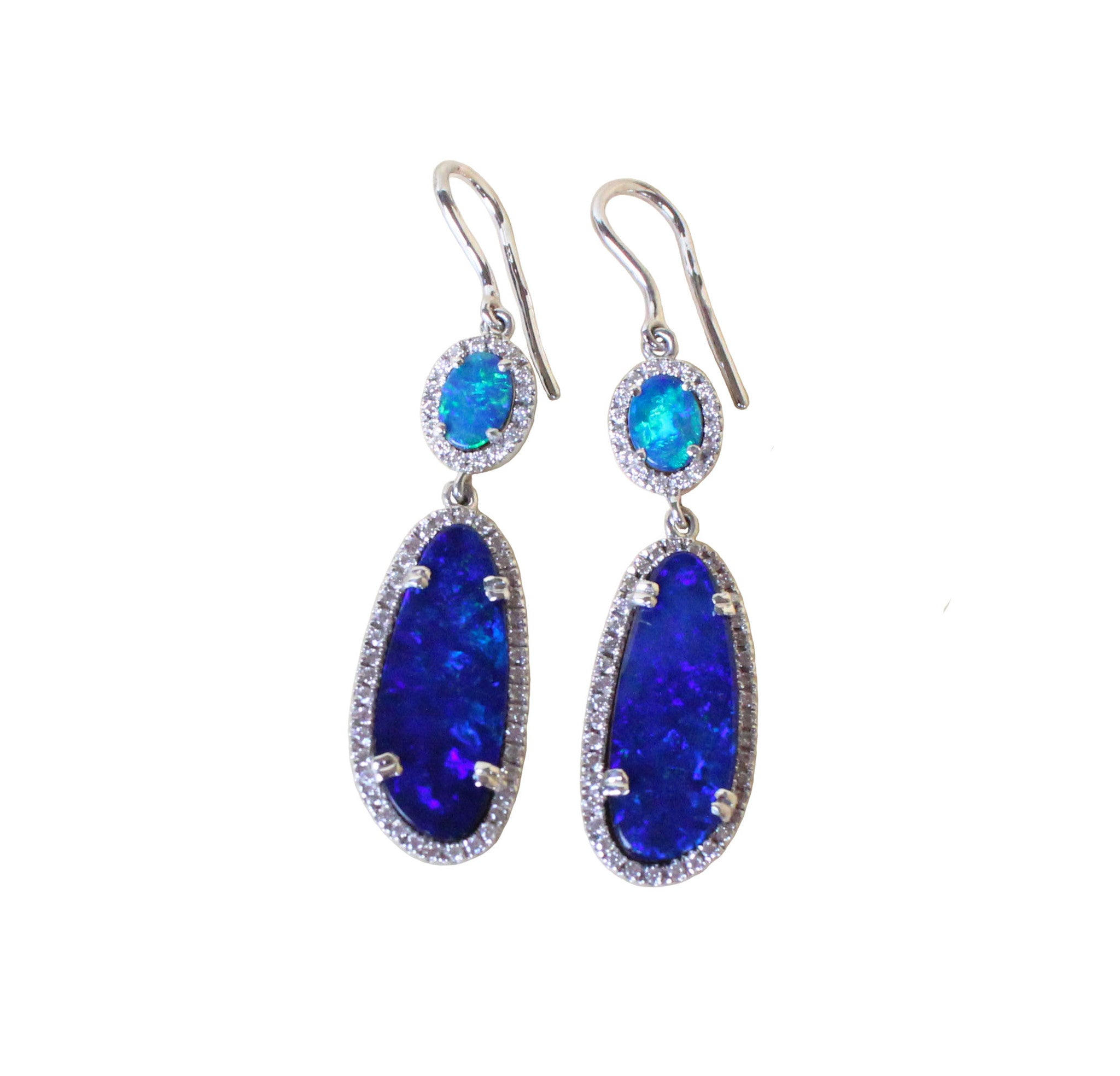Electric blue Australian opal diamond solid silver dangle earrings - Ready to ship - Sarah Hughes - 2